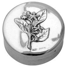 Round Pill Box Floral Design Italian 800 Silver Greggio Rino