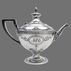 Adam Large Teapot Shreve Sterling Silver 1909 Mono MPB