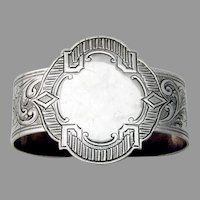 Engraved Napkin Ring Shaped Oval Form Coin Silver No Mono