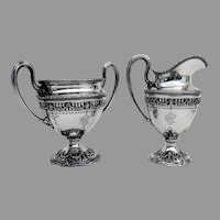 Adam Cutwork Base Creamer Sugar Bowl Set Shreve Sterling Silver 1909 Mono