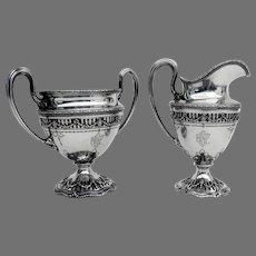 Adam Cutwork Base Creamer Sugar Bowl Set Shreve Sterling Silver 1909 Mono