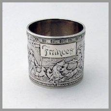 Medieval Hunting Scene Napkin Ring Gorham Sterling Silver 1884 Frances