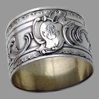 Baroque Style Napkin Ring French First Standard Silver Mono MG