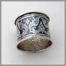 Niello Napkin Ring Thai Sterling Silver