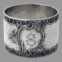 Baroque Style Napkin Ring French 950 Silver Armand Fresnais Mono S