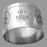 Art Nouveau Napkin Ring French 800 Silver Mono CR