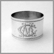 French Napkin Ring Granvigne 950 Sterling Silver Mono MC