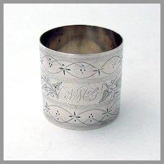 Bright Cut Engraved Napkin Ring Coin Silver Mono NMcG