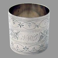 Bright Cut Engraved Napkin Ring Coin Silver Mono NMcG
