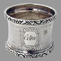 Engine Turned Napkin Ring French First Standard Silver Mono Octave