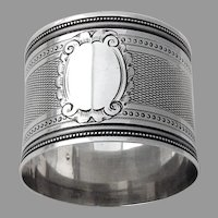 Engine Turned Beaded Napkin Ring French 950 Silver No mono
