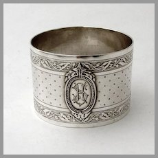 Engine Turned Foliate Napkin Ring French 950 Silver Mono HS