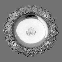 Ornate Serving Bowl Openwork Border Gorham Sterling Silver Mono MM