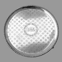Engraved Footed Salver Beaded Rim Warner Sterling Silver Mono JAR