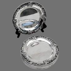 Repousse 8 Bread Plates Set Kirk Son Inc Sterling Silver 1930