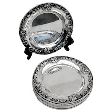 Repousse 8 Bread Plates Set Kirk Son Inc Sterling Silver 1930