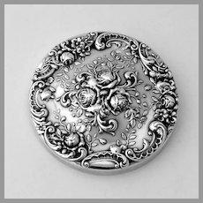 Rose Scroll Round Hand Mirror Gorham Sterling Silver