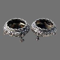 Stieff Repousse Open Salt Dishes Pair Sterling Silver Mono JHW