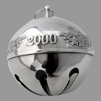 Wallace 2000 Christmas Sleigh Bell Ornament Sterling Silver