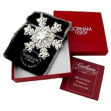 Gorham 2000 Christmas Snowflake Ornament Sterling Silver