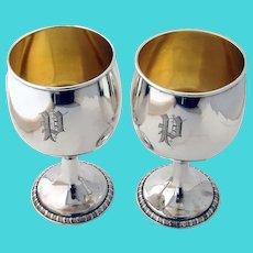 Goblets Pair Gilt Interior Gorham Sterling Silver Mono P