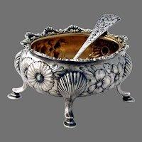 Repousse Oval Open Salt Dish Salt Spoon Set Gorham Sterling Silver Mono SNB