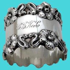 Art Nouveau Floral Napkin Ring Blackinton Sterling Silver Mono CEKL