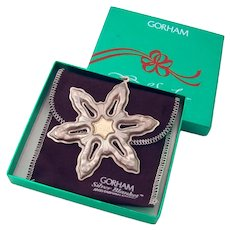 Gorham 1986 Christmas Snowflake Ornament Sterling Silver Gold Filled