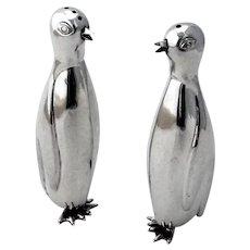 Penguin Salt Pepper Shakers Set Sterling Silver Mexico