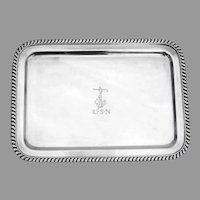 USN Officers Dresser Tray Gadroon Border Wallace Silverplate 1900