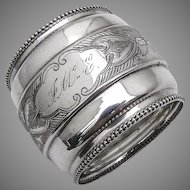 Engine Turned Engraved Palmette Napkin Ring Beaded Rims Coin Silver 1880