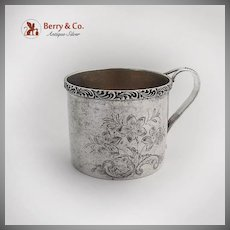 Floral Engraved Matte Finish Baby Childs Cup Scroll Rim International Sterling Silver