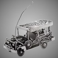 Retro Filigree Touring Car Figurine Sterling Silver 1960