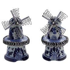 Delft Windmill Salt Pepper Shakers Pair Dutch 835 Standard Silver 1930