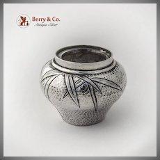 Japanese Bamboo Open Salt Glass Liner Peened Finish Sterling Silver 1900