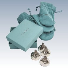 Tiffany Co Figural Pomegranate Place Card Holders Set Spring Clip Sterling Silver