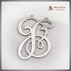 Vintage Curly Napkin Clip Letter L Apollo Silver Co Sterling Silver