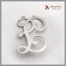 Ornate Curly F Letter Napkin Clip Sterling Silver