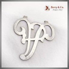 Vintage Ornate Napkin Clip A Letter Sterling Silver