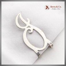 Openwork Curly J Letter Napkin Clip Sterling Silver
