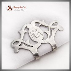 Curly Cut Work Napkin Clip Lunt Sterling Silver Monogrammed
