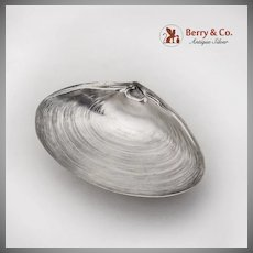 Clam Shell Form Serving Dish Ball Feet International Sterling Silver 1940