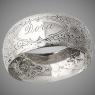 English Floral Chased Napkin Ring Sterling Silver Sheffield 1889
