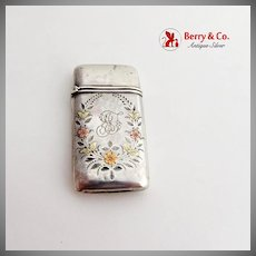 Engraved Ladies Match Safe Three Tone Gold Flowers Sterling Silver 1880