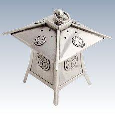 Japanese Lantern Form Salt Shaker Lotus Leaf Medallions Sterling Silver