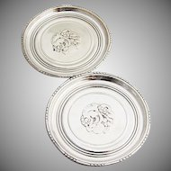 Blossom Large Butter Pats Small Coasters Pair Georg Jensen Sterling Silver