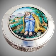 Persian Round Engraved Box Enamel Scenic Lid 84 Standard Silver