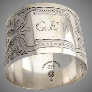 Aesthetic Engraved Bright Cut Napkin Ring Durgin Sterling Silver 1890