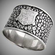 Art Nouveau Napkin Ring Double Crest German 800 Silver 1900