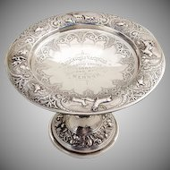 Ornate Repousse Engraved Yachting Trophy Figural Foot Sterling Silver 1884 Glasgow